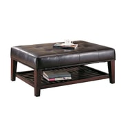 COASTER Faux Leather Tufted  Wood Ottoman Brown