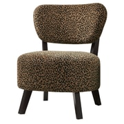 COASTER Wood & Fabric Padded  Seating Chair  Leopard Pattern