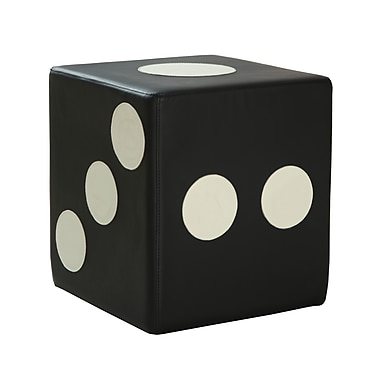 COASTER Vinyl Dice Faux Leather Ottoman Black