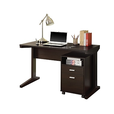 COASTER Computer Desk with File Cabinet, Rich Cocoa (800916)