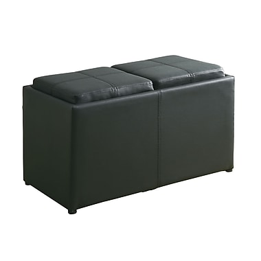 COASTER Storage Bench Faux Leather Storage Ottoman Black