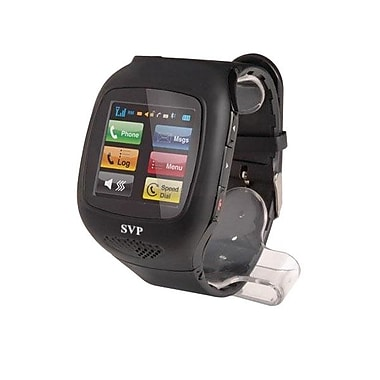 SVP® Unlocked Camera GSM Quad-Band Watch Phone, Black