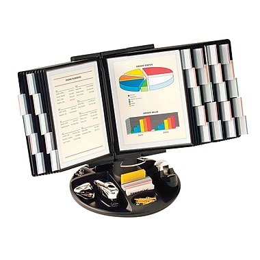 Aidata® Executive Rotary Base Organizer With 30 Display Panels, Black