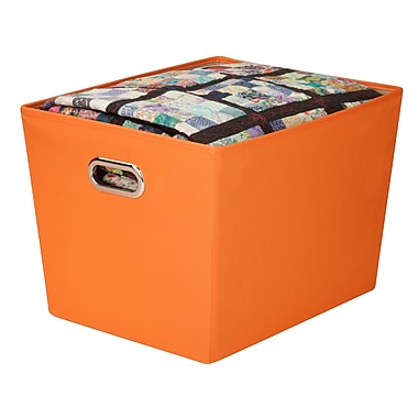 Honey Can Do® Large Decorative Storage Bin with Handles, Orange