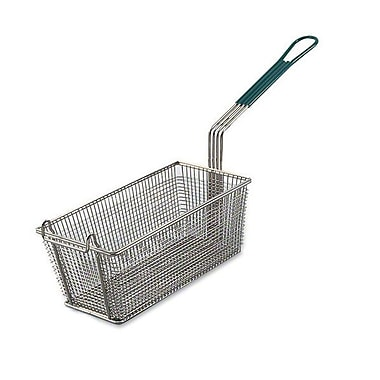 Browne 79204, 13in. x 5-1/2in. Wire Rectangular Fry Basket w/ Green Plastic Handle