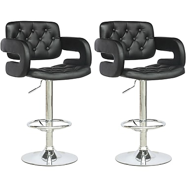 CorLiving™ Tufted Adjustable Bar Stool with Armrests, Black Leatherette, set of 2