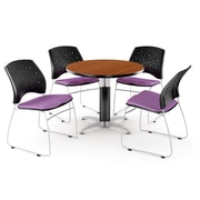 OFM™ 36 Round Multi-Purpose Cherry Table With 4 Chairs, Plum