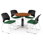 "OFM™ 36"" Round Multi-Purpose Cherry Table With 4 Chairs, Forest Green"