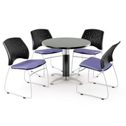 """OFM™ 42"""" Round Multi-Purpose Gray Nebula Table With 4 Chairs, Lavender"""