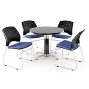 """OFM™ 36"""" Round Multi-Purpose Gray Nebula Table With 4 Chairs, Colonial Blue"""