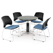 OFM™ 36 Round Multi-Purpose Gray Nebula Table With 4 Chairs, Cornflower Blue