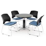 "OFM™ 42"" Round Multi-Purpose Gray Nebula Table With 4 Chairs, Cornflower Blue"