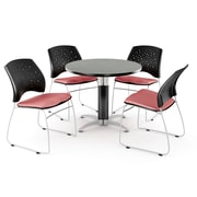 OFM™ 36 Round Multi-Purpose Gray Nebula Table With 4 Chairs, Coral Pink