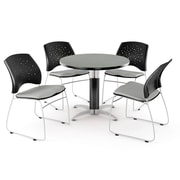 OFM™ 36 Round Multi-Purpose Gray Nebula Table With 4 Chairs, Putty