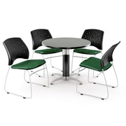 "OFM™ 42"" Round Multi-Purpose Gray Nebula Table With 4 Chairs, Forest Green"