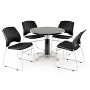 "OFM™ 42"" Round Multi-Purpose Gray Nebula Table With 4 Chairs, Black"