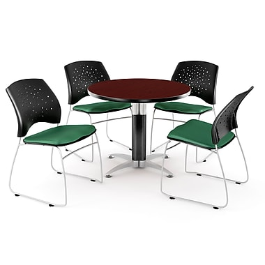 OFM™ 36in. Round Multi-Purpose Mahogany Table with 4 Chairs, Shamrock Green