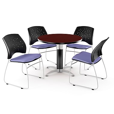 OFM™ 36in. Round Multi-Purpose Mahogany Table with 4 Chairs, Lavender
