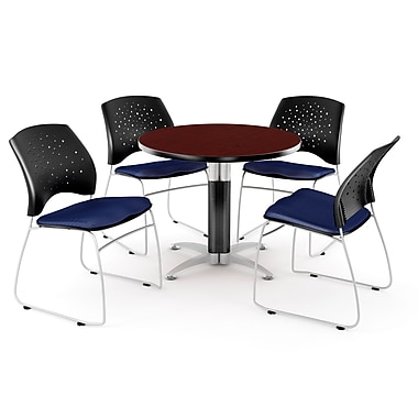 OFM™ 36in. Round Multi-Purpose Mahogany Table with 4 Chairs, Navy
