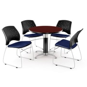 "OFM™ 36"" Round Multi-Purpose Mahogany Table with 4 Chairs, Navy"