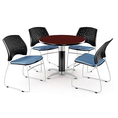 OFM™ 36in. Round Multi-Purpose Mahogany Table with 4 Chairs, Cornflower Blue