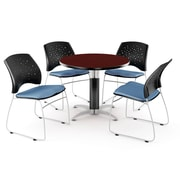 OFM™ 42 Round Multi-Purpose Mahogany Table With 4 Chairs, Cornflower Blue