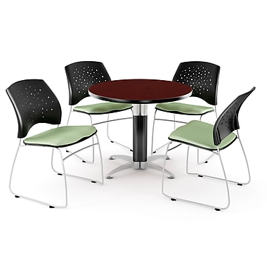 OFM™ 36in. Round Multi-Purpose Mahogany Table with 4 Chairs, Sage Green