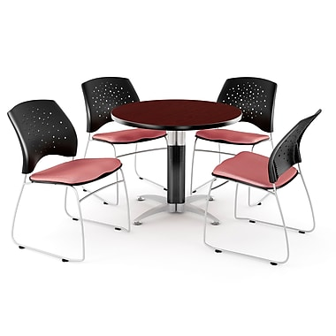 OFM™ 36in. Round Multi-Purpose Mahogany Table with 4 Chairs, Coral Pink