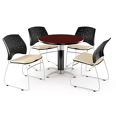 OFM™ 36in. Round Multi-Purpose Mahogany Table with 4 Chairs, Khaki