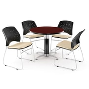 "OFM™ 36"" Round Multi-Purpose Mahogany Table with 4 Chairs, Khaki"