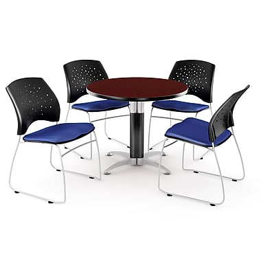 OFM™ 36in. Round Multi-Purpose Mahogany Table with 4 Chairs, Royal Blue