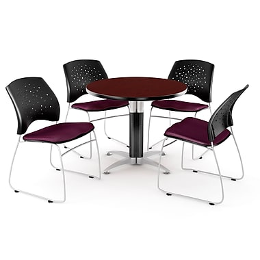 OFM™ 36in. Round Multi-Purpose Mahogany Table with 4 Chairs, Burgundy