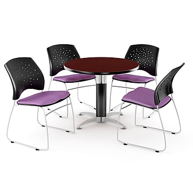OFM™ 36in. Round Multi-Purpose Mahogany Table with 4 Chairs, Plum