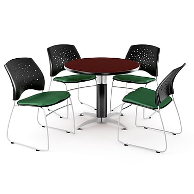 OFM™ 36in. Round Multi-Purpose Mahogany Table with 4 Chairs, Forest Green