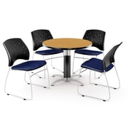 "OFM™ 42"" Round Multi-Purpose Laminate Oak Table With 4 Chairs, Navy"