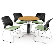 "OFM™ 36"" Round Multi-Purpose Laminate Oak Table With 4 Chairs, Sage Green"