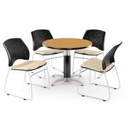 "OFM™ 36"" Round Multi-Purpose Laminate Oak Table With 4 Chairs, Khaki"