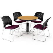 OFM™ 42 Round Multi-Purpose Laminate Oak Table With 4 Chairs, Burgundy