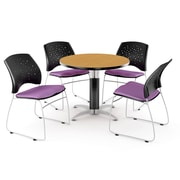 OFM™ 42 Round Multi-Purpose Laminate Oak Table With 4 Chairs, Plum