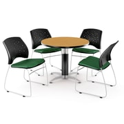 "OFM™ 36"" Round Multi-Purpose Laminate Oak Table With 4 Chairs, Forest Green"
