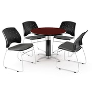 "OFM™ 42"" Round Multi-Purpose Mahogany Table With 4 Chairs, Slate Gray"