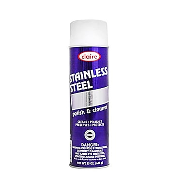 Claire® Stainless Steel Polish and Cleaner Aerosol, 15 oz., 12/Pack