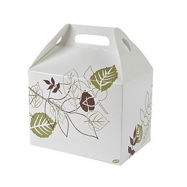 Dixie® Pathways™ 10 lb. Paper Barn Carryout Carton, Green/Burgundy
