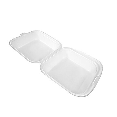 CKF Square Hinged Lid Foam Sandwich Pack, White, 14.6