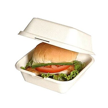 Eco Guardian Baggase Hamburger Box, White
