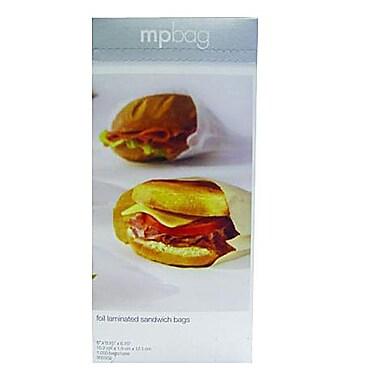 J.H.Mcnairn 6 x 0.75 x 6.75 Silver Foil White Paper Backing Take Out Sandwich Bag, White/Silver