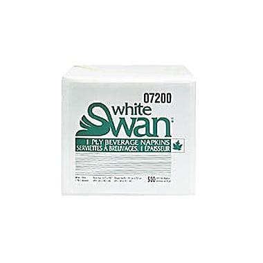 White SwanMD – Serviettes à boissons de qualité supérieure à 1 épaisseur de 9,5 x 9,5 (po), blanc, 500 serviettes