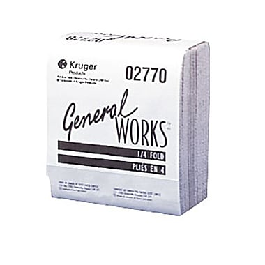 General Works® Premium 2-Ply 1/4 Folded Wiper, White