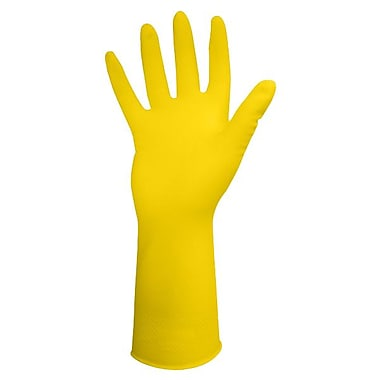 Ronco Light-Fit Flocklined Latex Reusable Gloves, Yellow, Large