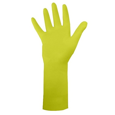Ronco Dura-Fit Flocklined Latex Reusable Gloves, Yellow, Medium